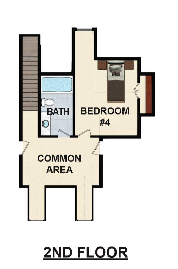 2nd Floor 3D Model image of Featured House Plan: BHG - 6899