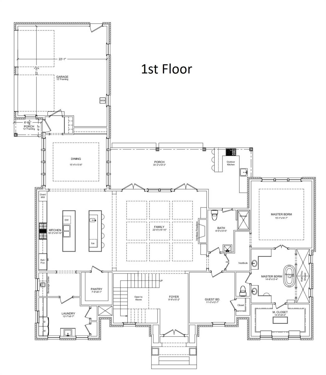 1st Floor Plan image of Featured House Plan: BHG - 6902