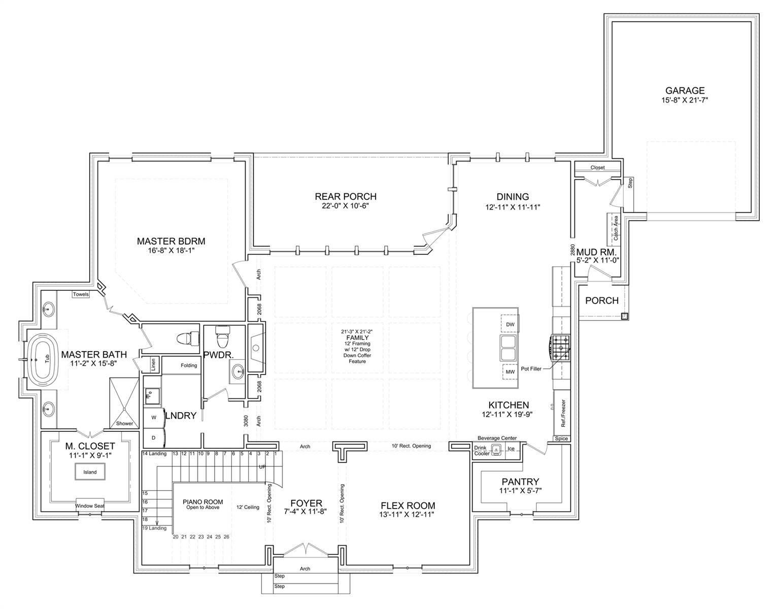 1st Floor Plan image of Featured House Plan: BHG - 7524