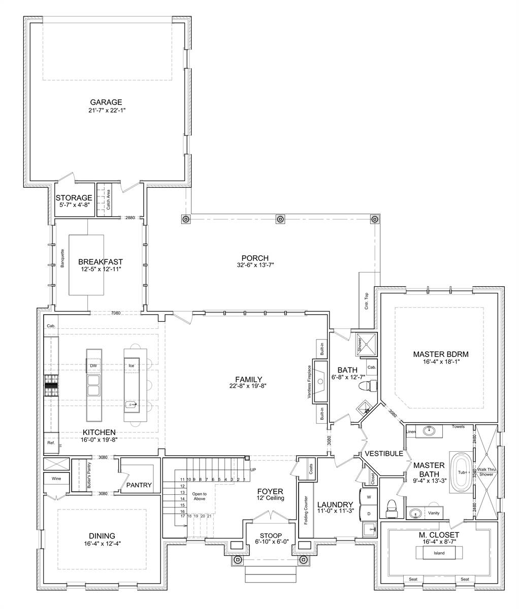 1st Floor Plan image of Jolie Luxury French Country Style House Plan 7526