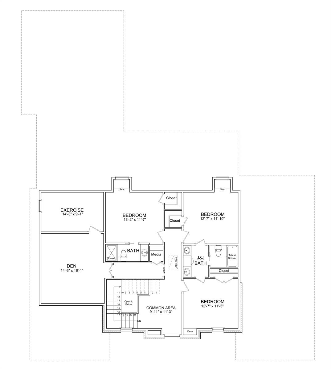 2nd Floor Plan image of Jolie Luxury French Country Style House Plan 7526