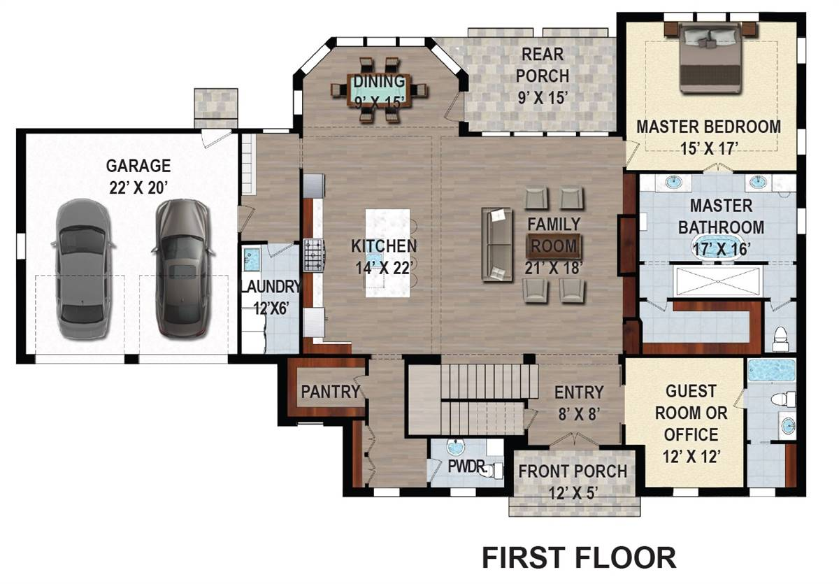 1st Floor Plan image of Featured House Plan: BHG - 9626