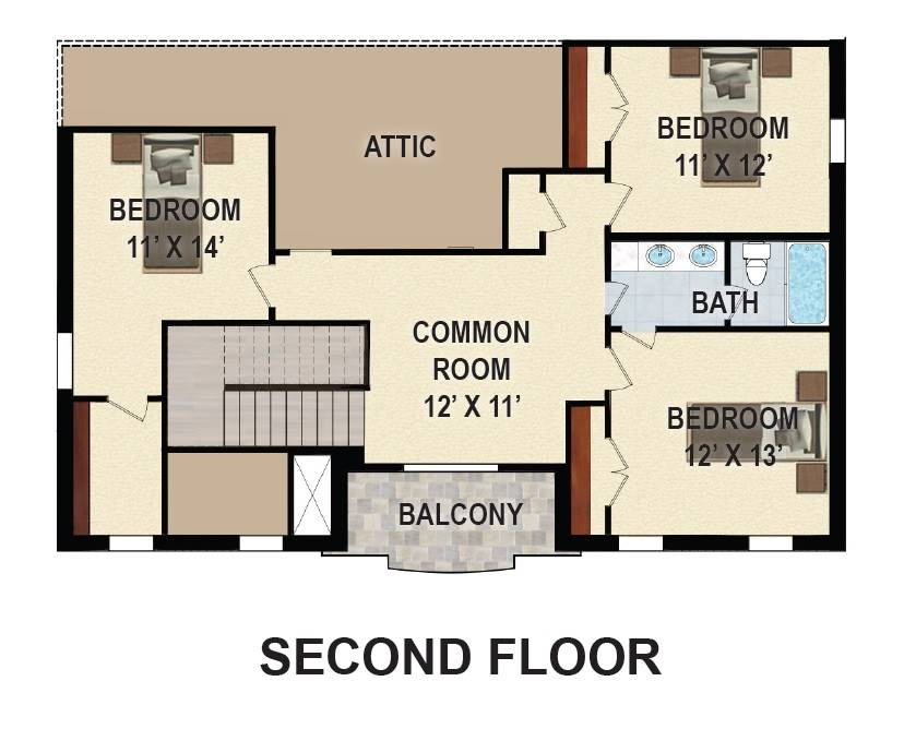 2nd Floor Plan image of Featured House Plan: BHG - 9626