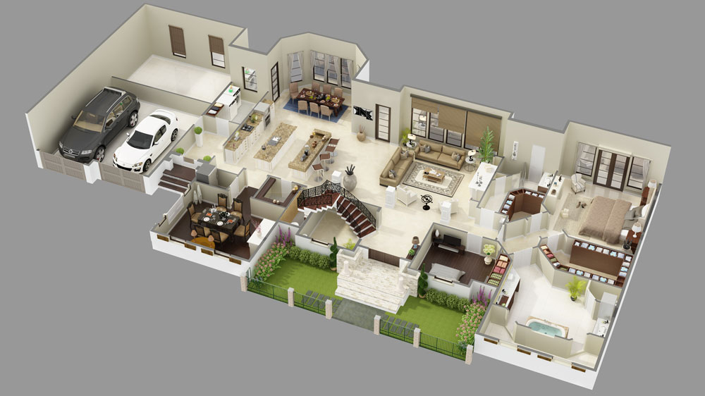1st Floor 3D Model image of Featured House Plan: BHG - 9643