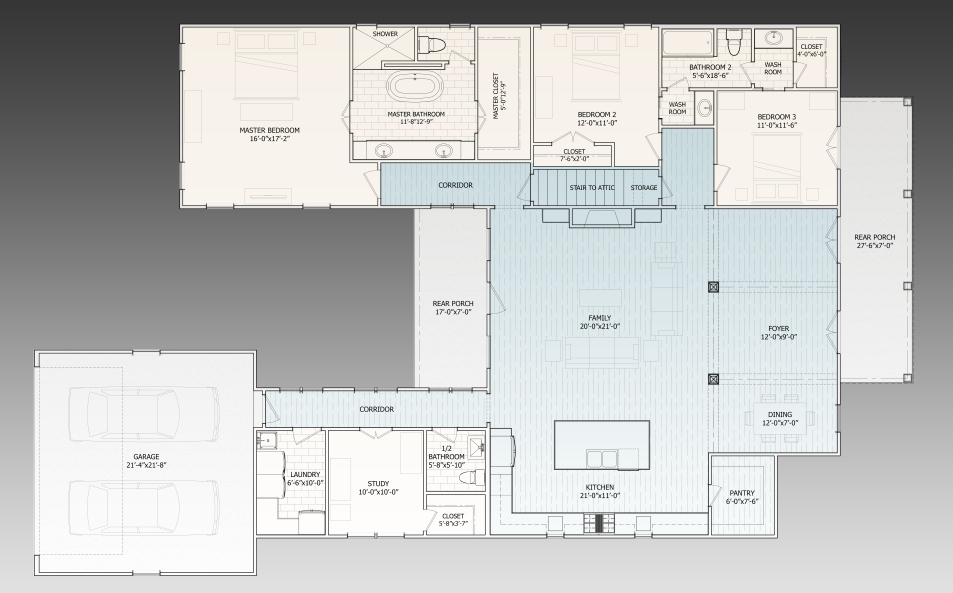 1st Floor Plan image of Featured House Plan: BHG - 9624