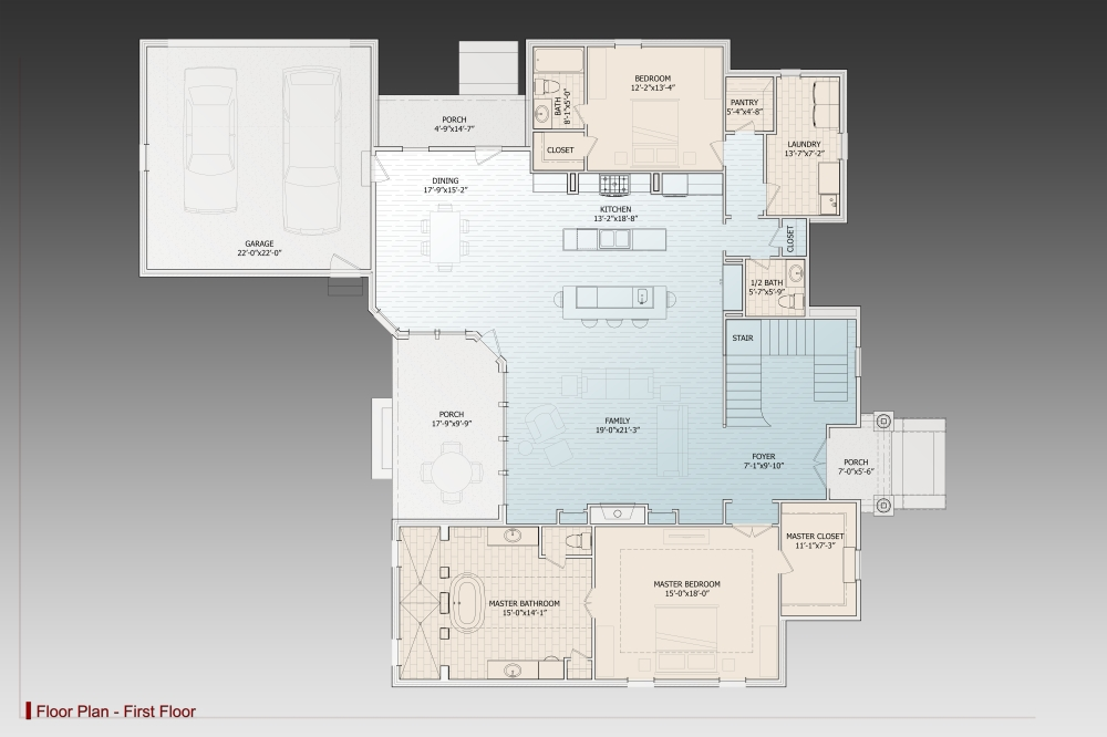 1st Floor Plan image of Featured House Plan: BHG - 9627