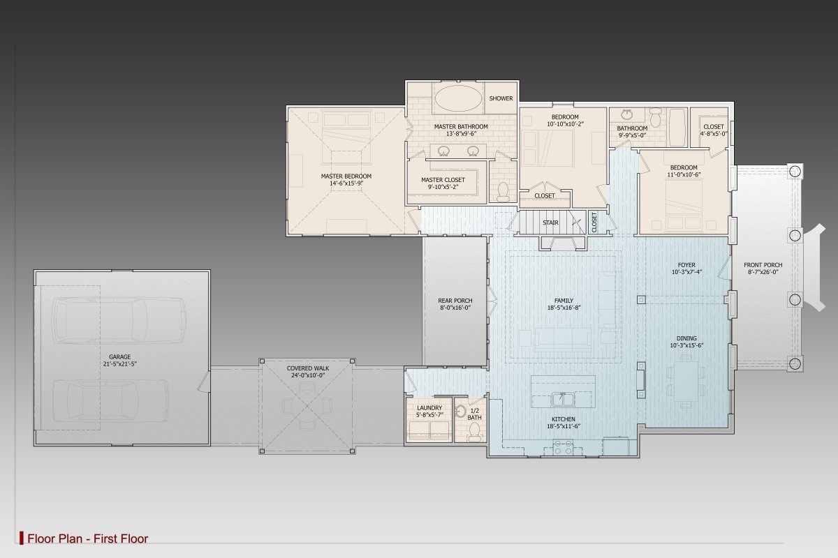 1st Floor Plan image of Featured House Plan: BHG - 9629