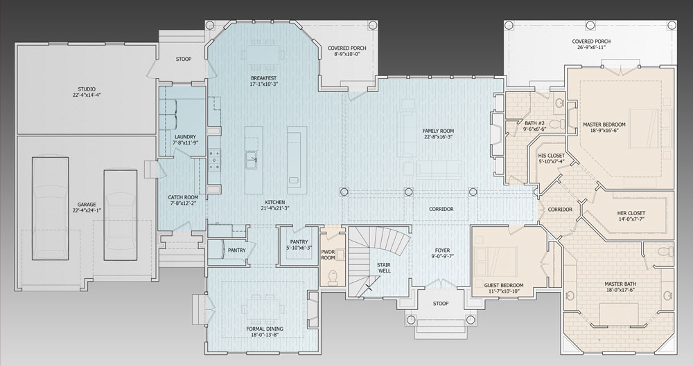 1st Floor Plan image of Featured House Plan: BHG - 9643