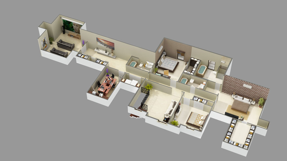 2nd Floor 3D Model image of Featured House Plan: BHG - 9643