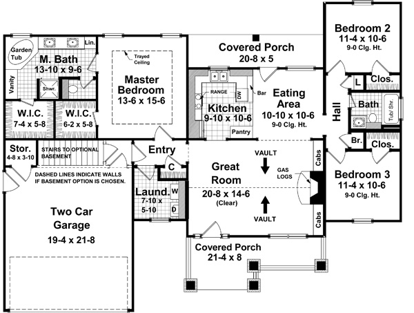 1st Level Floorplan image of Featured House Plan: BHG - 7138