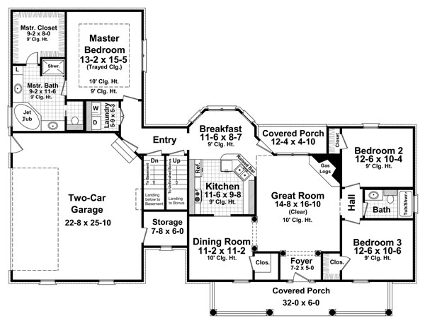 1st Level Floorplan image of Featured House Plan: BHG - 8566