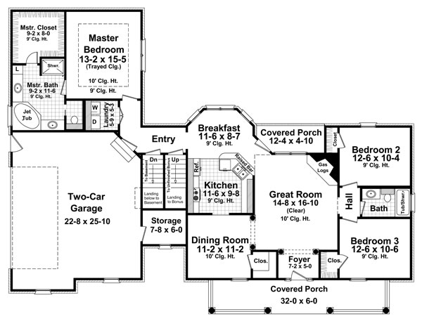 1st Level Floorplan image of Featured House Plan: BHG - 8567