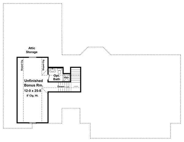 Bonus Room Floorplan image of Featured House Plan: BHG - 8567