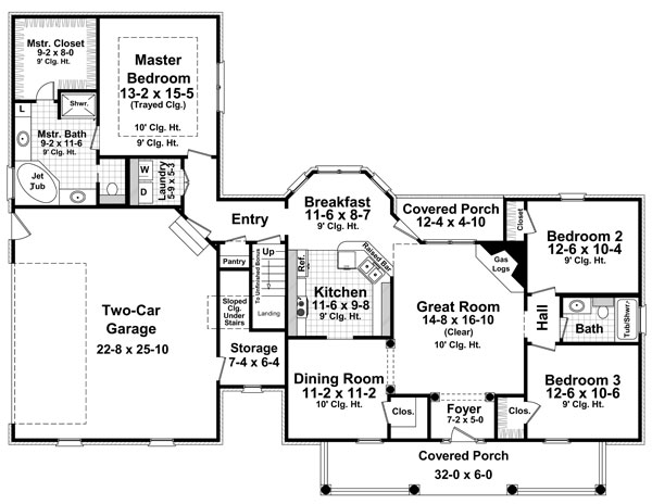 1st Level Floorplan image of Featured House Plan: BHG - 8095