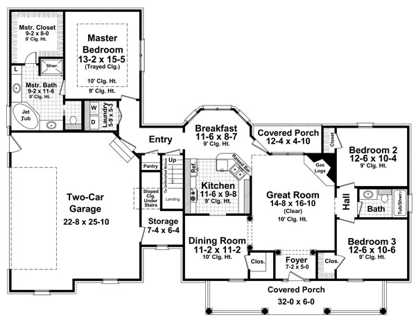 1st Level Floorplan image of Featured House Plan: BHG - 8094