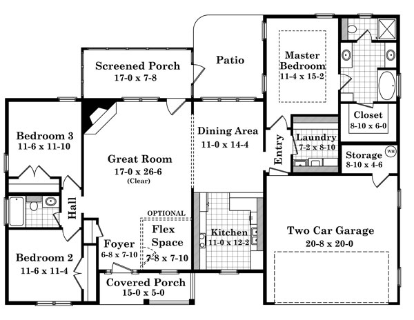 1st Level Floorplan image of Featured House Plan: BHG - 6920