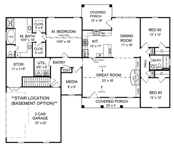 Basement Floorplan image of Featured House Plan: BHG - 5722