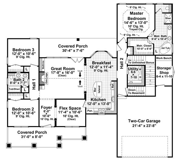 1st Level Floorplan image of Featured House Plan: BHG - 8565