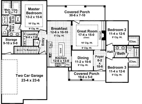1st Level Floorplan image of Featured House Plan: BHG - 5272