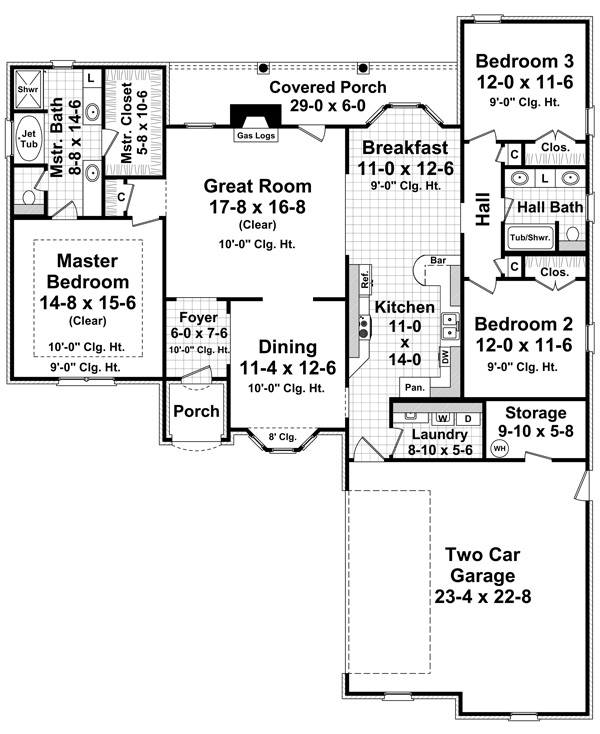 1st Level Floorplan image of Featured House Plan: BHG - 7026