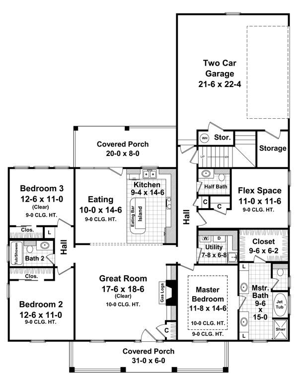 1st Level Floorplan image of Featured House Plan: BHG - 7028