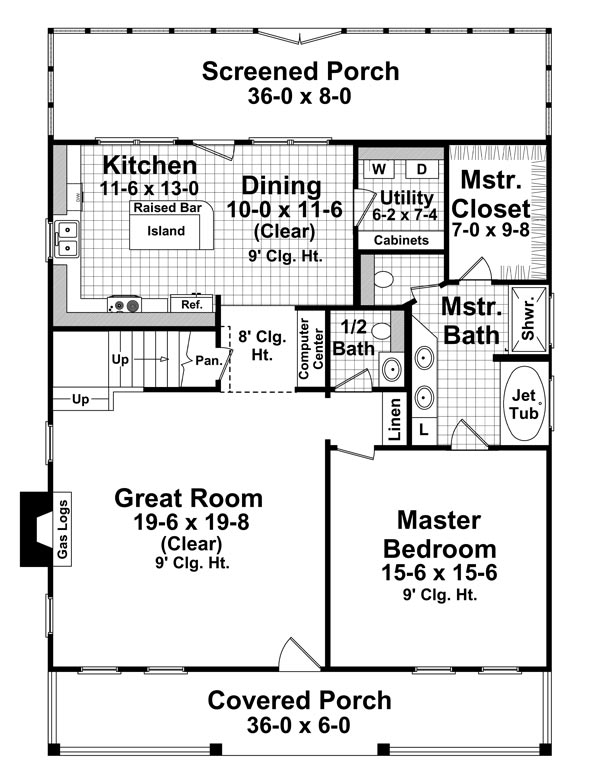 1st Level Floorplan image of Featured House Plan: BHG - 6776