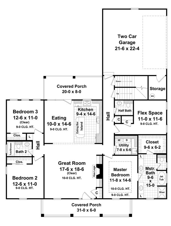 1st Level Floorplan image of Featured House Plan: BHG - 7642