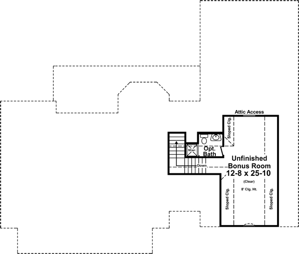 Bonus Room Floorplan image of Featured House Plan: BHG - 5273