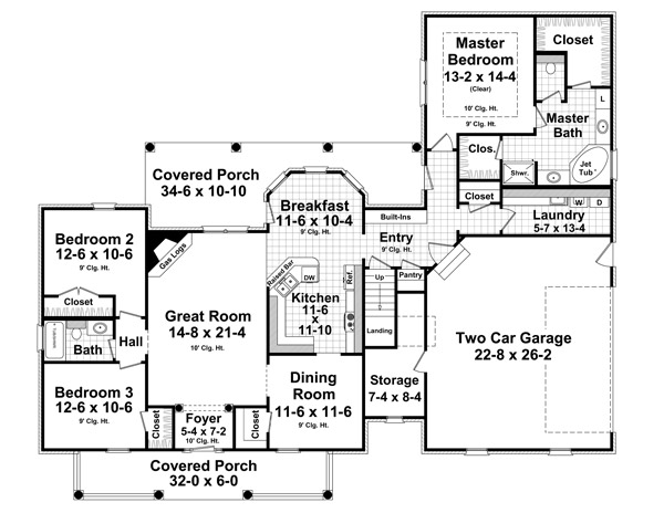1st Level Floorplan image of Featured House Plan: BHG - 1032