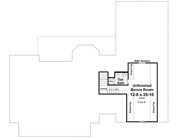 Bonus Room Floorplan image of Featured House Plan: BHG - 1032