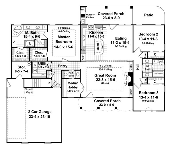1st Level Floorplan image of Featured House Plan: BHG - 6569
