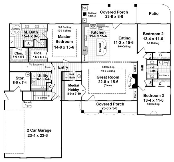 1st Level Floorplan image of Featured House Plan: BHG - 7052