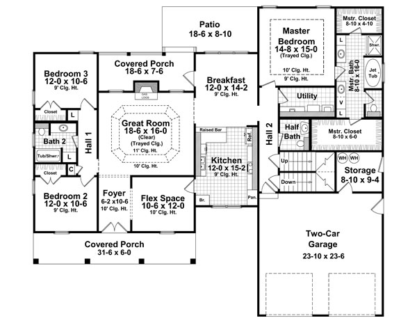 1st Level Floorplan image of Featured House Plan: BHG - 7079