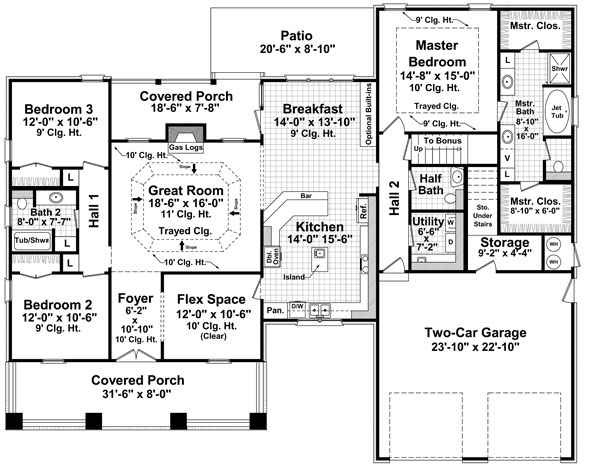 1st Level Floorplan image of Featured House Plan: BHG - 7142