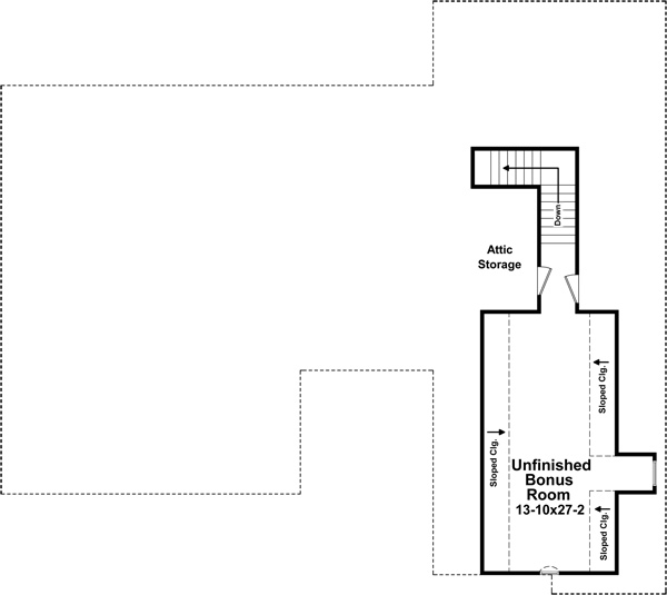 Bonus Room Floorplan image of Featured House Plan: BHG - 5274