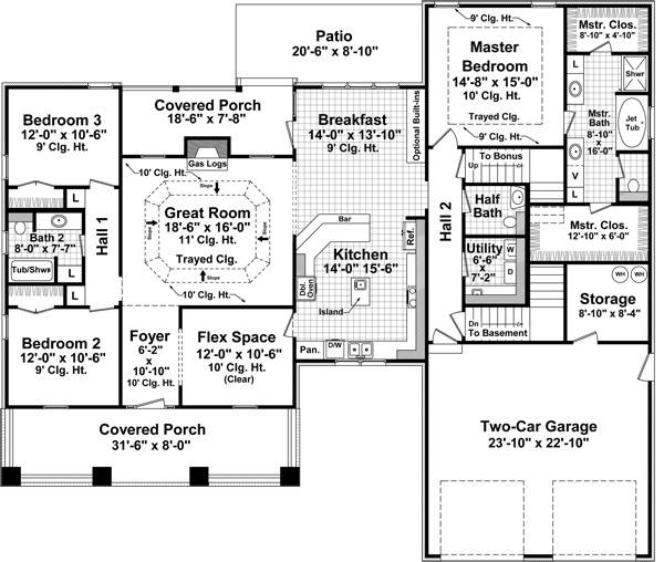 1st Level Floorplan image of Featured House Plan: BHG - 8041