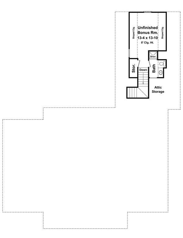 Bonus Room Floorplan image of Featured House Plan: BHG - 7683