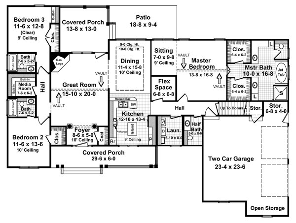 1st Level Floorplan image of Featured House Plan: BHG - 5757