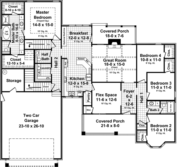 1st Level Floorplan image of Featured House Plan: BHG - 5346