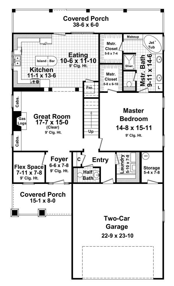 1st Level Floorplan image of Featured House Plan: BHG - 7684