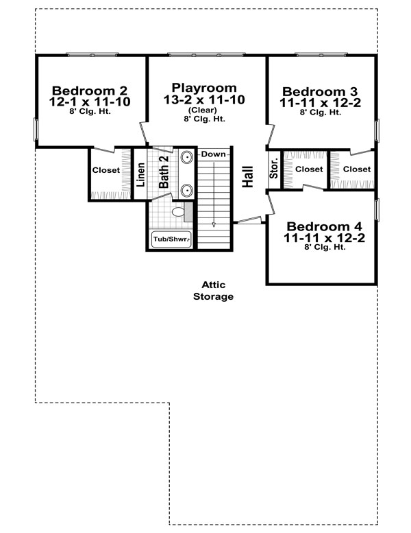 2nd Level Floorplan image of Featured House Plan: BHG - 7684