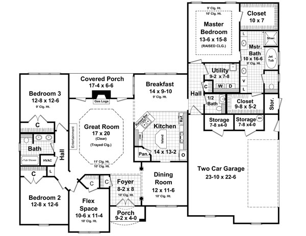 1st Level Floorplan image of Featured House Plan: BHG - 6709
