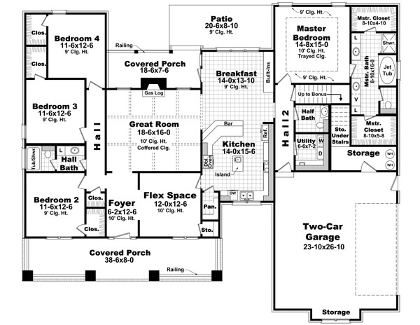 1st Level Floorplan image of Featured House Plan: BHG - 6388