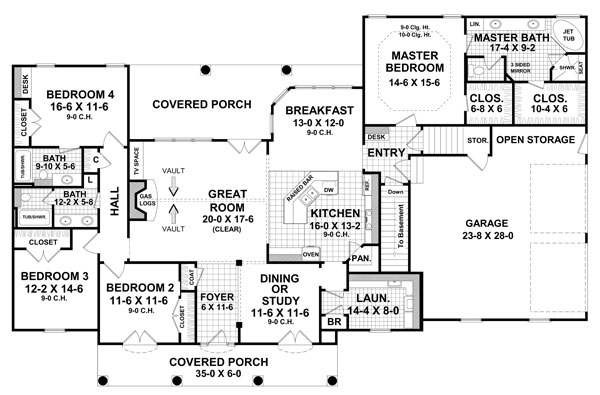 1st Level Floorplan image of Featured House Plan: BHG - 7919