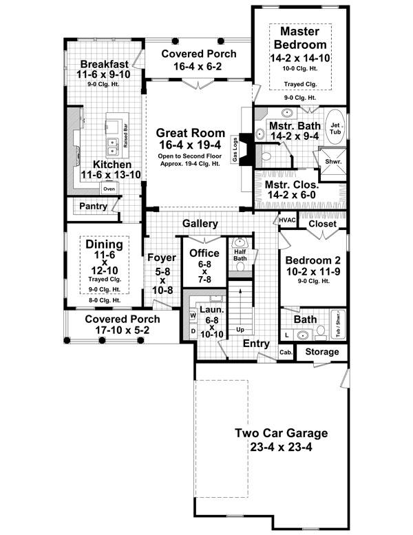 1st Level Floorplan image of Featured House Plan: BHG - 1215