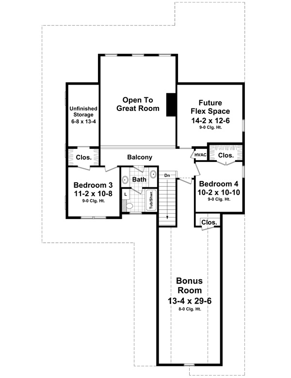 2nd Level Floorplan image of Featured House Plan: BHG - 1215