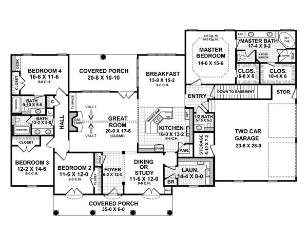 1st Level Floorplan image of Featured House Plan: BHG - 6414