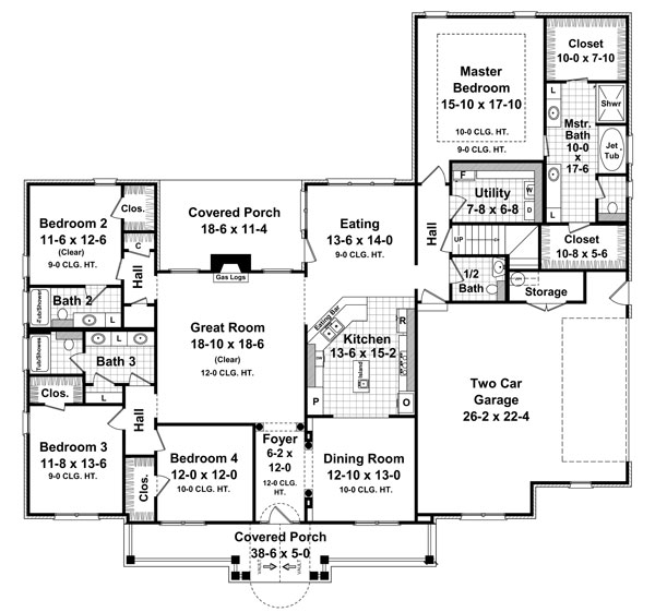 1st Level Floorplan image of Featured House Plan: BHG - 7131