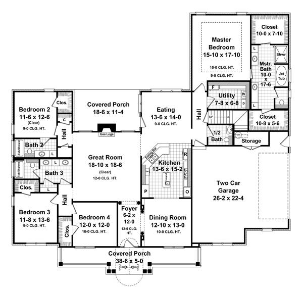 1st Level Floorplan image of Featured House Plan: BHG - 7130