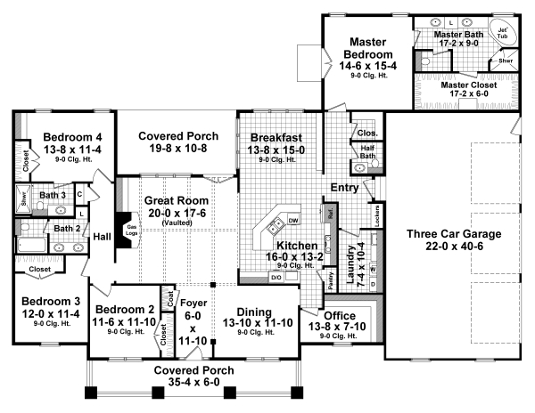 1st Level Floorplan image of Featured House Plan: BHG - 3106